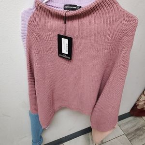 Pink oversized color block sweater